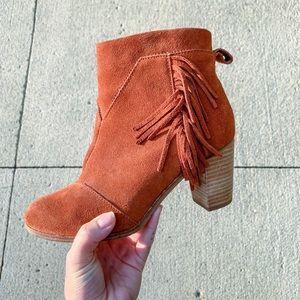 TOMS - brown tassel suede heels western booties
